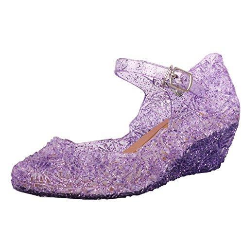 Tyidalin Niña Bailarina Zapatos de Tacón Disfraz de Princesa Zapatilla de Ballet para 3 a 12 Años EU28-33(Color: Púrpura,Gold,Plata) (EU 23(Talla del Fabricante 25), Morado)