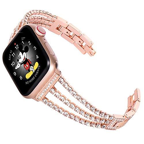 JIADUOBAO Correa de repuesto para Apple Watch con funda de 38 mm, 40 mm, 42 mm, 44 mm, para mujer, con diamantes de imitación, para pulsera iWatch Series 5/4/3/2/1 (color: dorado, tamaño: 38 mm)