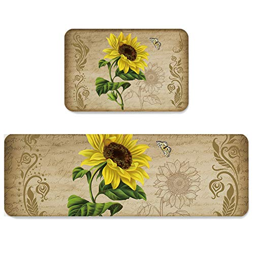 LooPoP Kitchen Rugs and Mats Non Skid Washable Sets Sunflower Anti Fatigue 2 Piece Set Non Skid Waterproof Standing Rugs Spring Flowers Farmhouse
