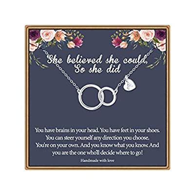 Ursteel Graduation Gifts for Her 2021, Class of 2021 Graduation Gifts Senior High School College Gift for Women Teen Girls, She Believed She Could Interlocking Love Initial A Graduation Necklaces