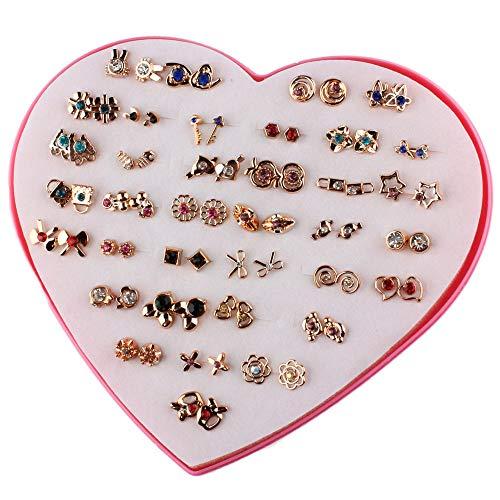 POFET 36 pares de pendientes con caja de regalo en forma de corazón, pendientes hipoalergénicos para niñas y mujeres, juego de joyería colorida, varios tamaños y patrones PAB12255