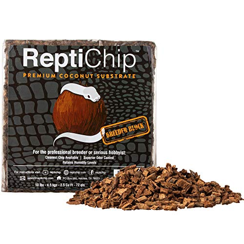 ReptiChip Compressed Coconut Chip Substrate for Reptiles 72 Quart Coco Chips Brick Bedding (Breeder...