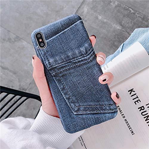 MFKW Apple telefoonhoesje creatieve persoonlijkheid illustratie literaire jeans patroon zijde patroon, siliconen zachte hoes voor mannen en vrouwen, 7/8 jeans [free lanyard]