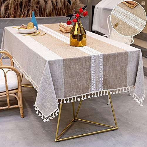 Manteles Rectangular Mantel Mesa Lino Algodon Manteles Antimanchas, Bordado Table Cloth con Borlas Tela Lavable, para Cocina Comedor Cuadrado-Taupe|| 140x220cm. 6-8 seats