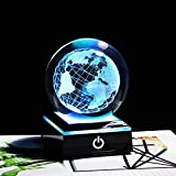 DFGDFG 3D Grabado Earth Globe K9 Crystal Craft Ball Tierra con Base LED Luz Astronomia Ornament Mapa de la Tierra Decoración del hogar (Color : Black Base, Size : 8 cm)