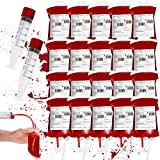 20 Packs Halloween Blood IV Bag Reusable Energy Drink Container Juice Pouch Prop Cups for Zombie Theme Party Decoration with Syringe and Clips, 10.15 fl.oz (20pcs Bag, 20 Label, 2 Syringes)