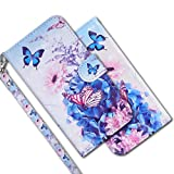 MRSTER Huawei Y5 2018 Handytasche, Leder Schutzhülle Brieftasche Hülle Flip Hülle 3D Muster Cover mit Kartenfach Magnet Tasche Handyhüllen für Huawei Y5 2018 / Honor 7S. RX 3D - Butterfly Flower