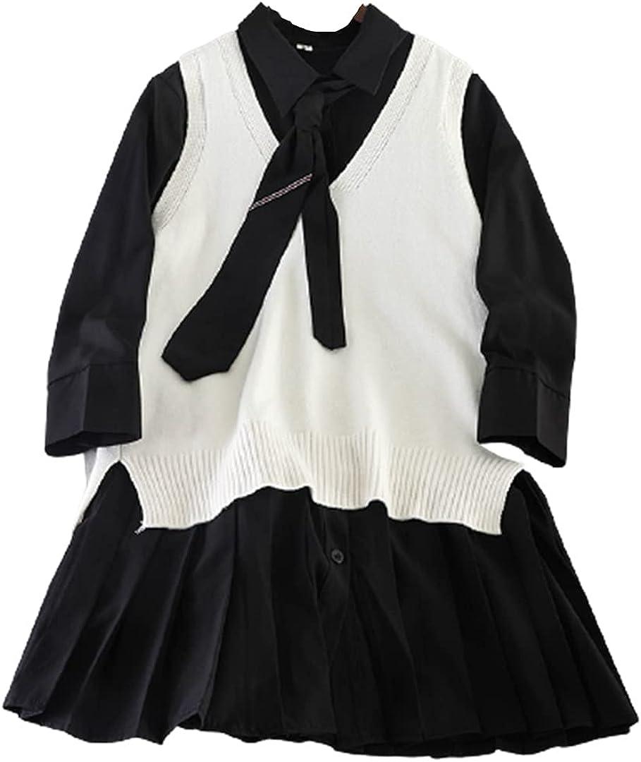 Women's Fall Blouses and Vest Suit V-Neck Knit Vest and Long Sleeve Shirt Dress 2 Piece Set
