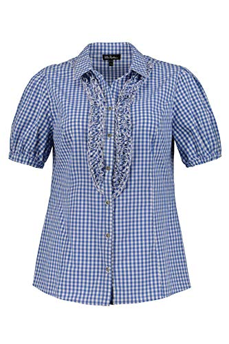 Ulla Popken Damen Hemdkragen Rüschen Trachtenbluse, Blau (Hellblau 72), (Herstellergröße: 58+)