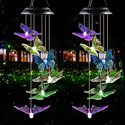 N-A Outdoor Wind Chime,Solar Lights Chimes Butterfly Wind Chimes Color Changing Solar Power Wind Chime Outdoor Decor,Yard Decorations Solar Light Mobile Unique Wind Chimes,Wind Bell Light?2pack?
