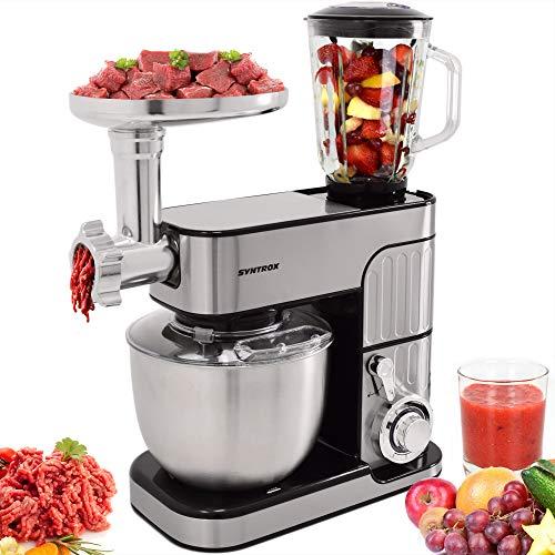 Syntrox Germany leistungsstarke Küchenmaschine Knetmaschine Mixer mit Fleischwolf in zeitlosem Design mit 5,5 Liter Fassungsvermögen, Inox schwarz