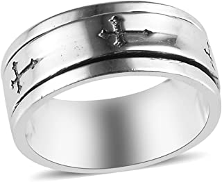 Shop LC Mens Womens Spinner Band Ring 925 Sterling Silver Statement Boho Handmade Jewelry Gifts for Women Moon Star Celtic...