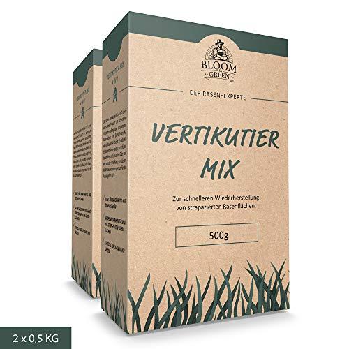 Vertikutiermix Bloom & Green (2 x 0,5kg) I 4 in 1 Garten- und Rasenpflege: Organisch-Mineralischer NPK-Dünger mit Eisen, Rasen-Nachsaat, Rasenpflaster & Bodenverbesserer durch Rasen-Regeneration I 1kg