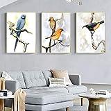 Carteles e impresiones de pájaros minimalistas nórdicos animales loro arte de la pared pinturas en lienzo cuadros sala de estar decoración del hogar 50x70cmx3pcs sin marco