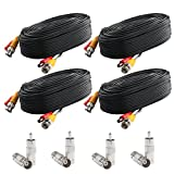 Postta BNC Video Power Cable (4 Pack 25 Feet) Pre-Made All-in-One Video Security Camera Cable Wire with Eight Connectors for CCTV DVR Surveillance System