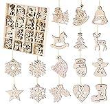64-teiliges Tannenbaumschmuck Holz, 16 verschiedenen Motiven Anhänger Set - Holzanhänger zur Dekoratio für den Weihnachtsbaum, Christbaumschmuck