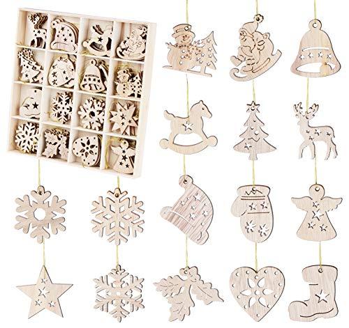 64 Pezzi Ornamenti in Legno per Natale, Decorazioni per Albero Natalizio, Addobbi di 4cm a Forma di Babbo Natale, Fiocco di Neve, Campana, Alci, Stella