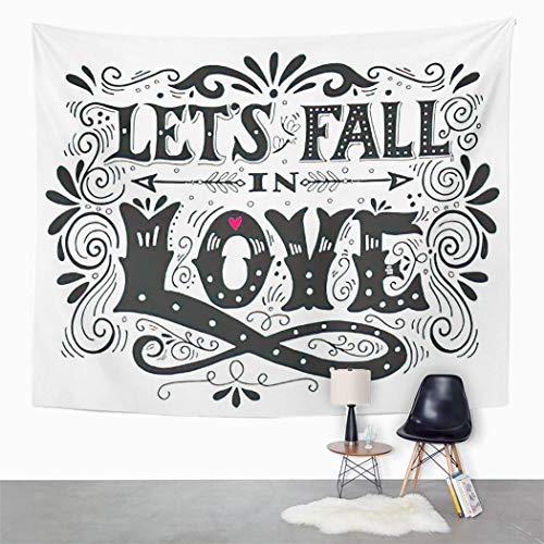 Y·JIANG Tapiz con cita 'Let's Fall in Love' de San Valentín, con texto en inglés 'Let's Fall in Love', tapiz grande decorativo para el hogar, dormitorio, 152,4 x 127 cm