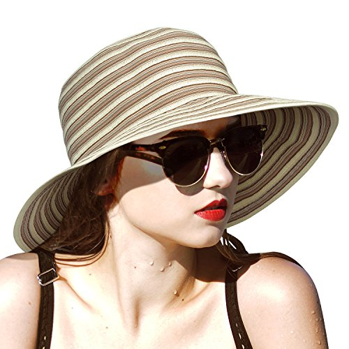 Solaris Frauen Sonnenhut Faltbarer Strohhut Floppy Sommerhüte mit breiter Krempe zum Angeln Gartenarbeit Wandern Safari Beach Beige-101