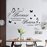 Wall Sticker for Living Room and Bedroom Because Someone We Love is in Heaven Quotes and Sayings Wall Decals Vinyl Removable Art.