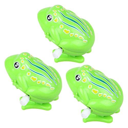 TOYMYTOY 3 Stück Wind up Spielzeug Kinder Tier Uhrwerk Spielzeug springende Frösche Badespielzeug (Grün)