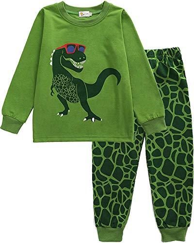EULLA Jungen Schlafanzug Lang Kinder Pyjama Baumwolle Nachtwäsche, B-grün, EU 104(3-4Jahre)=Tag 110