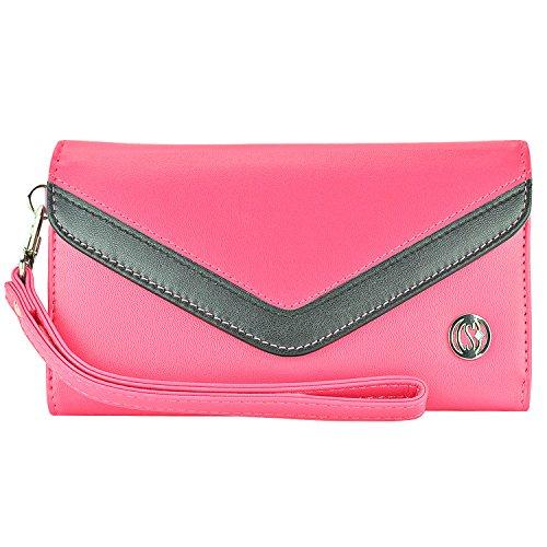 Schutzhülle/Clutch-Tasche aus PU-Leder für Alcatel Kyocera, Nokia Sony etc. Universal Damen Armband Flip Hülle Wallet mit schwarzen Streifen auf Hot Pink Passend für folgende Modelle: