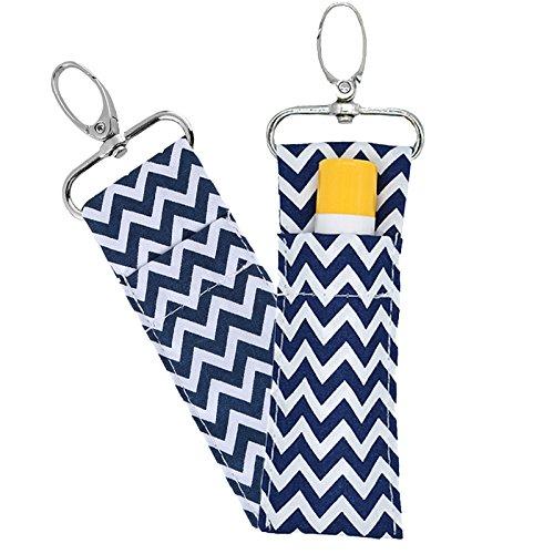 Rouge à lèvres Porte-clés, 6PCS Baume à lèvres Stick Lèvres Pochette Sangle Porte-clés Sac, motif ondulé, 6 couleurs bleu marine