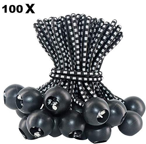 qianxia 100 Pcs Bungee Balls,Tarpaulin Holder, for banner, tarpaulins, pavilions, tents | expander loops,tent bungee hooks, tarpaulin holder, Flag Poles