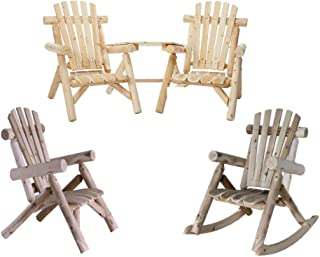 Lakeland Mills Cedar Log Vista Tete Outdoor Chairs with Lounge Chair and Rocking Chair, Natural