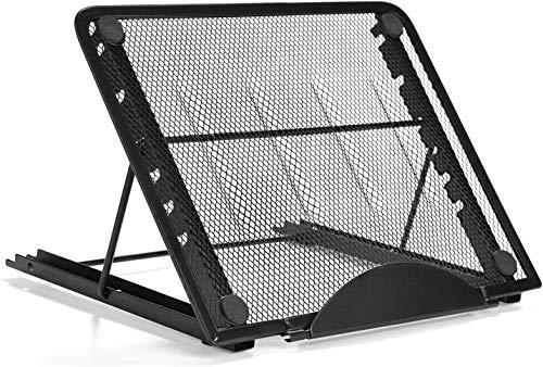 IMAGE - Supporto per tablet in alluminio, multi-angolo, regolabile, con imbottitura in gomma, per tablet, iPad, MacBook A4, 24 x 19 cm