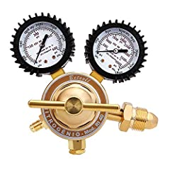 CGA580 Inlet Connection, 1/4 Inch Male Flare Outlet Connection and Easy to Read 2 Inch Gauges with Protective Rubber Gauge Boots Nitrogen Regulator, Delivery Pressure 0-4000 PSI. Durable brass piston designed diaphragm, self re-seating relief valve (...