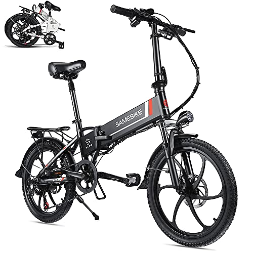 Rymic Folding 20'' Electric City Bike for 350W Motor, with Removable 48V 10.4Ah Lithium Battery for Adults, 7 Speed Shifter Electric Bicycle Handle LCD Meter Quick Delivery
