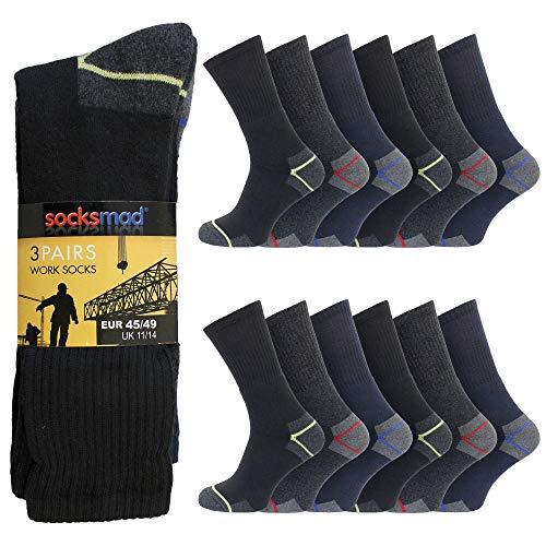 "3 Da Uomo Gentle Grip ® Cotone Non Elastico Calze UK 12-14 /""BIG FOOT/"" Plain Nero"
