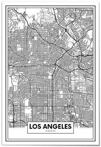 Panorama Metacrilato Enmarcado Mapa de Ciudad Los Ángeles 50x70cm - Impreso en Metacrilato de 3mm Marco - Cuadros para Salón - Cuadro de Pared - Cuadro con Marco - Cuadros Modernos