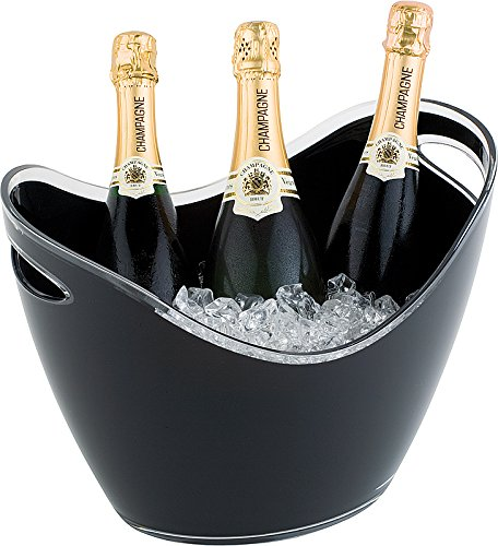 APS Wein-/ Sektkühler, Kühler mit Zwei seitlichen Eingriffen, schwarzer Flaschenkühler aus Polystyrol, 35 x 27 cm, 26 cm Höhe, für 6 l Volumen