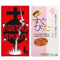 コンドーム すぐぴた エクセレント 3000 12個入 + FIGHTING SPIRIT (ファイティングスピリット) コンドーム Lサイズ 12個入