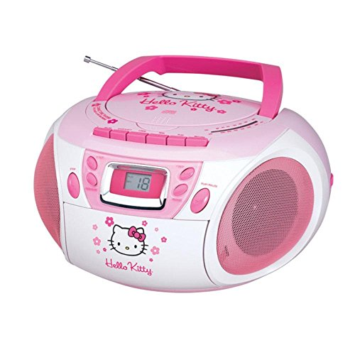 Hello Kitty Stereo CD Boombox with Cassette Player/Recorder and AM/FM Radio Consumer Electronics