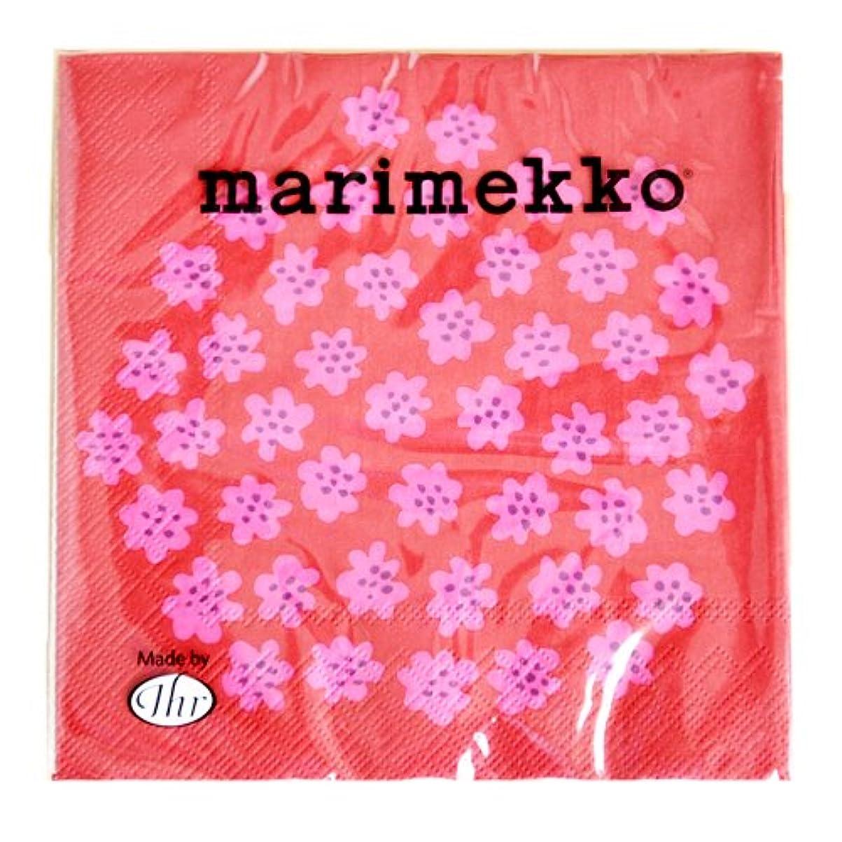 ドラフト本物カリキュラムmarimekko PUKETTI ペーパーナプキン 76【75710】 33x33cm/レッド×ピンク