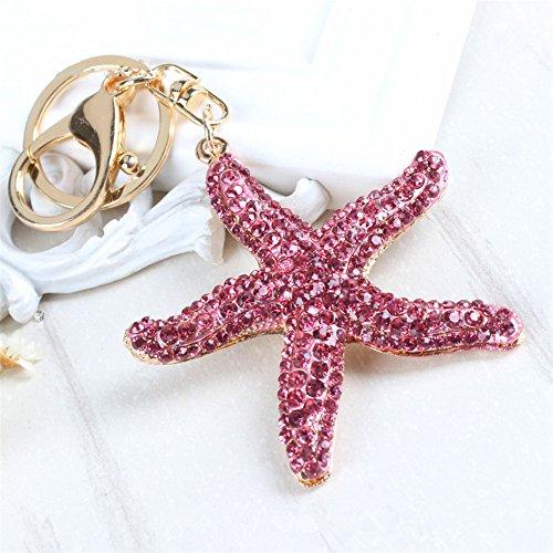 Pretty Sparkling Starfish Keychain Keyring Crystal Rhinestones Purse Pendant Handbag Charm