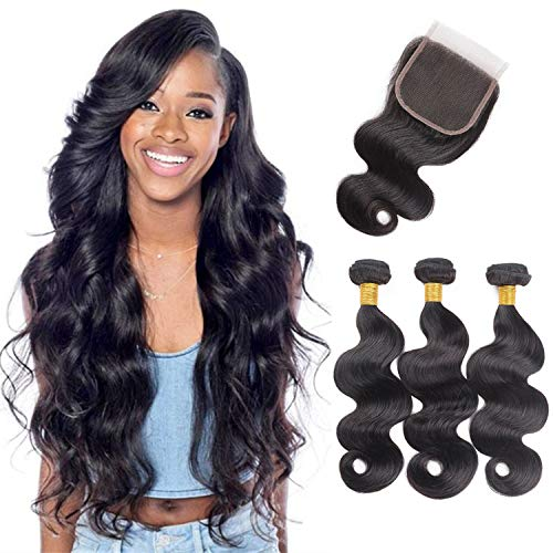10A Brazilian Virgin Hair Body Wave 3 Bundles With Closure 100% Unprocessed Brazilian Human Hair Weave With Lace Closure 16 18 20+16 Inches