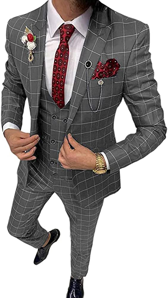 Men's 3 Pieces Fashion Plaid Business Suit Slim Fit Double Breasted Wedding Party Tuxedos