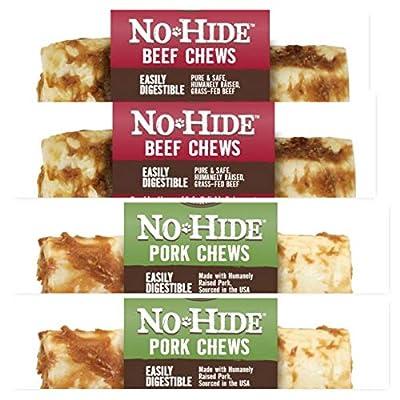 Earth Animal Raw Hide No Hide Dog Chews, Dog Treats 7 inch 4 Pack, (2) Beef, (2) Pork. The Safe Alternative to Raw Hide
