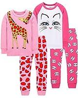 Christmas Pajamas for Girls Children Cat Clothes Baby Giraffe Pyjamas Sleepwear 4 Pack 4 Pieces Set 6t