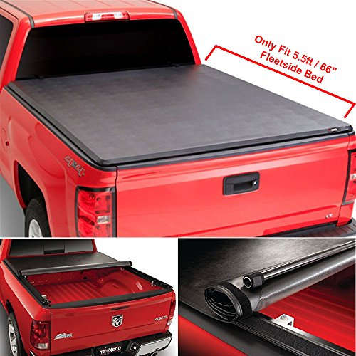 Ruiang Voyage 1pc Black Clamp On Soft Roll-up Top Mount Tonneau Cover with Rails+Necessary Mounting Hardware for 2007-2016 Toyota Tundra Crewmax Cab Pickup w/ 5.5ft (66inch) Fleetside Bed