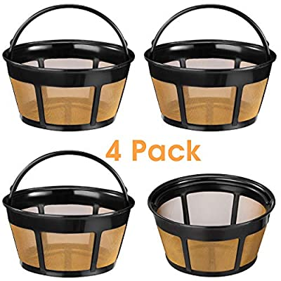 Reusable Coffee Filter, 4 Pack Basket Coffee Filters 8-12 Cup Replacement Coffee Filter
