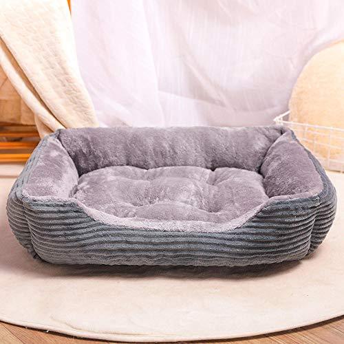 Cama Perro Gato Pequeño Cama Mascota Felpa Sofa Suave Cachorro Animales Domésticos Invierno, Cómoda y Lavable -Gris Pana_Número XL: 80 CM