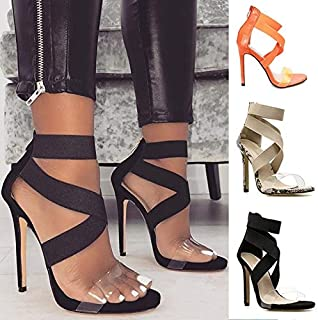 2019 New Women Fashion Snake Black Plastic High Heeled Sandals Party Evening Heels Roman Gladiator Sandals(Orange,43)