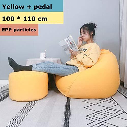 Twnhmj Reuzezitzak, zitzak, EPP-vulling, zelfstandig liner, zitkussen, vloerkussen, kinderen, zitzakken, relax, game, meubilair, kussen, fauteuil, geel, groot + A