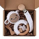 GLASSNOBLE Cadena para chupete de 1 juego de 1 mordedor de bebé con clip de cadena de ganchillo para hacer sonajero de cordero